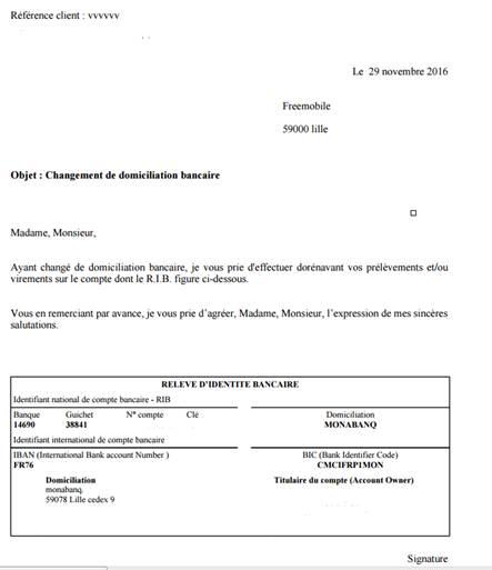 Lettre Type De Changement De Domiciliation Bancaire - Exemple de Lettre